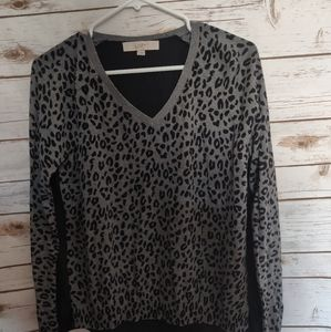 Loft Animal Print Top long sleeve  Small